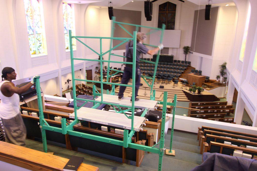 Assembling church scaffolding