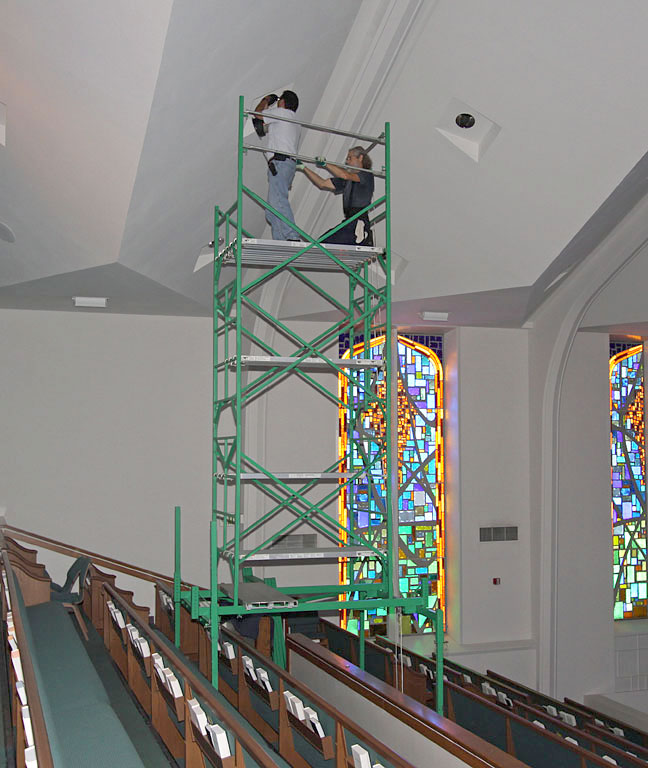 Lightbulb scaffolding for churches