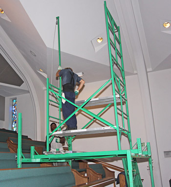 Scaffolding for stepped balconies in Churches