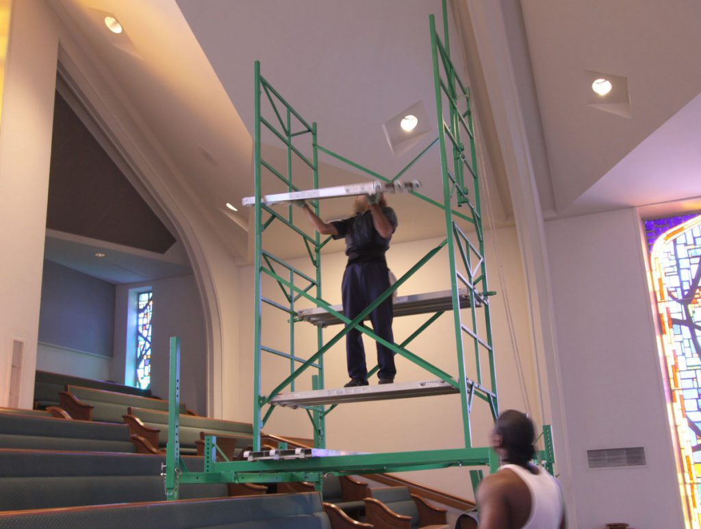 Scaffolding for stepped floors in churches