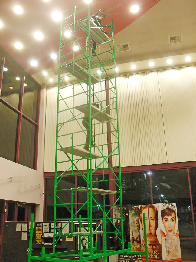 Theater lightbulb changer scaffolding